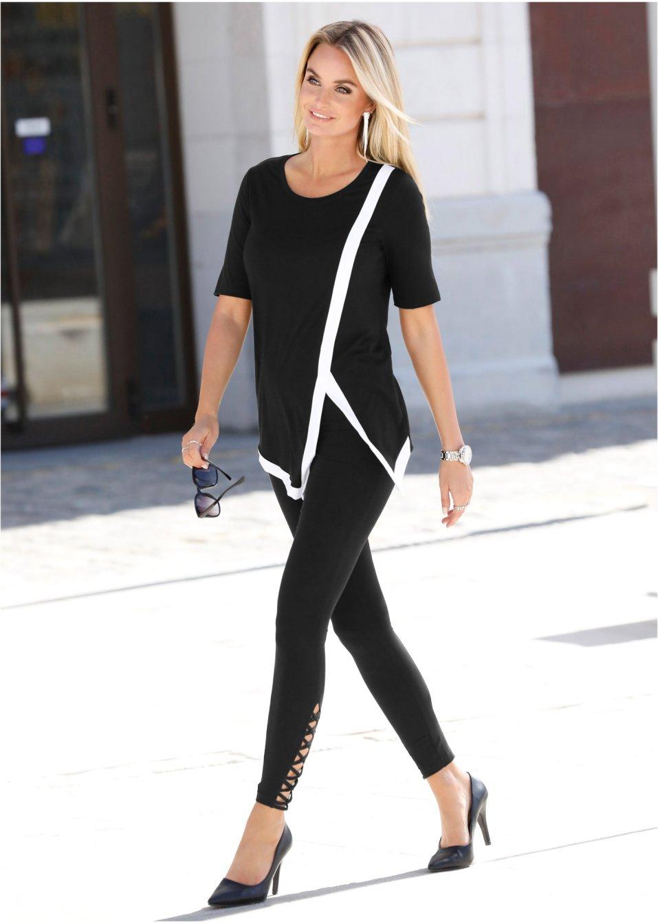 Mode Femme Vêtements DJLfdOFlkj Legging près du corps avec laçage noir