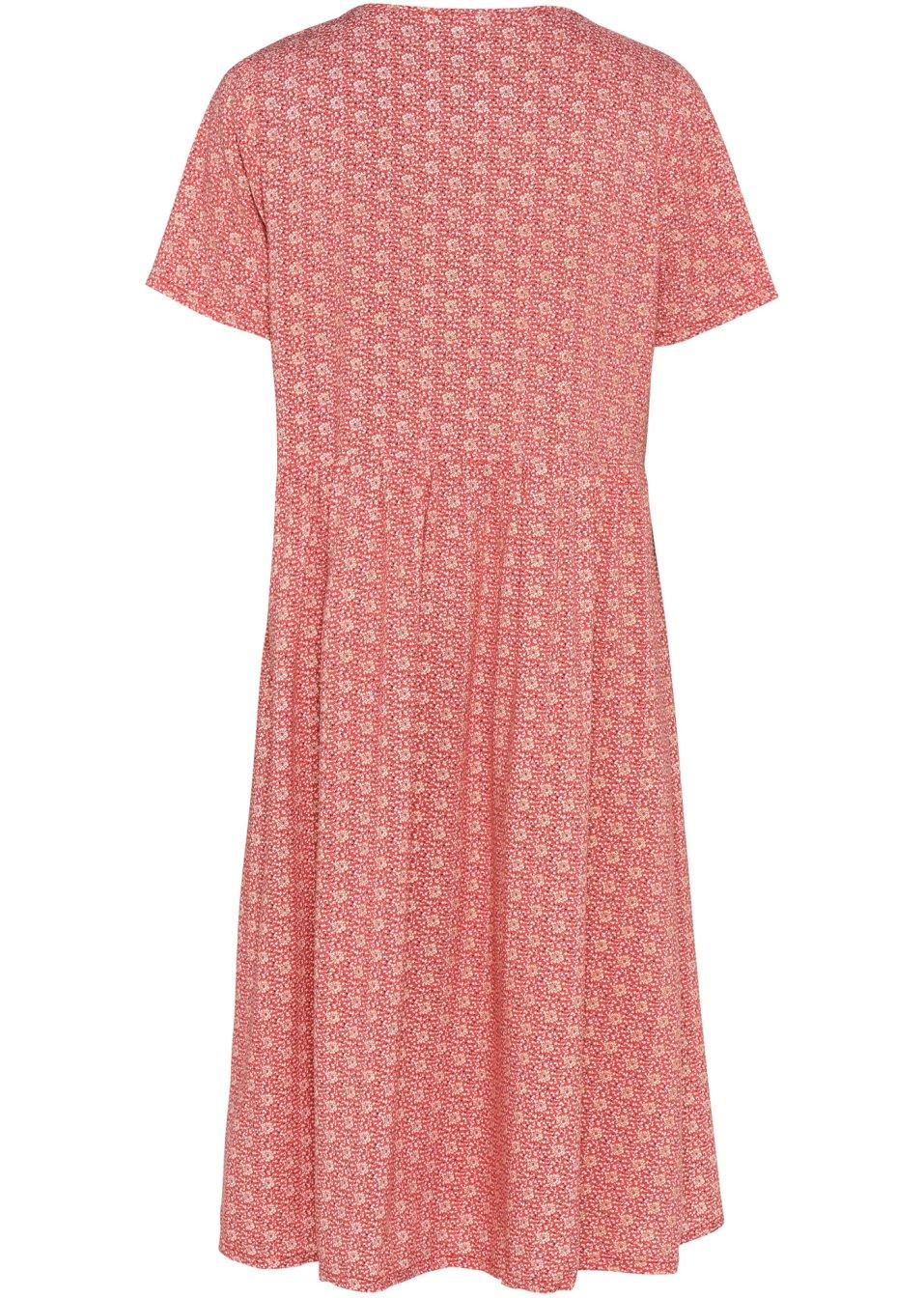 Mode Femme Vêtements DJLfdOFlkj Robe à décolleté en V et fronces, avec imprimé brillant rhubarbe imprimé