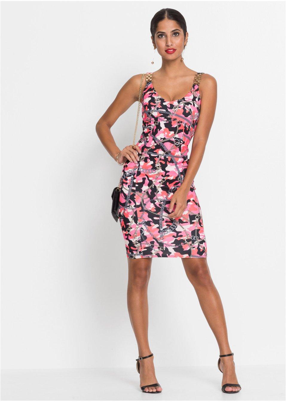 Mode Femme Vêtements DJLfdOFlkj Robe estivale imprimée noir/fuchsia imprimé BODYFLIRT boutique commande online .fr