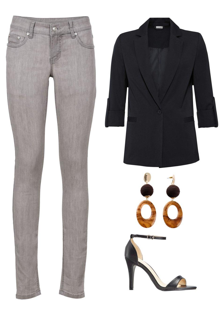 Mode Femme Vêtements DJLfdOFlkj Blazer à manches 3/4, poches passepoilées noir