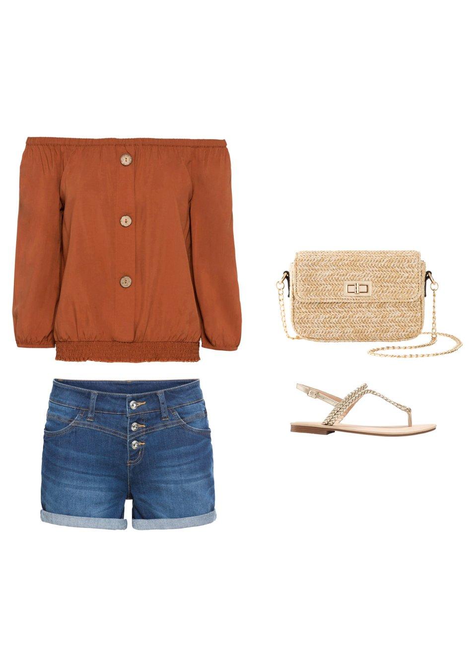 Mode Femme Vêtements DJLfdOFlkj Blouse Carmen avec base smockée, manches 3/4 et faux boutons brun orange