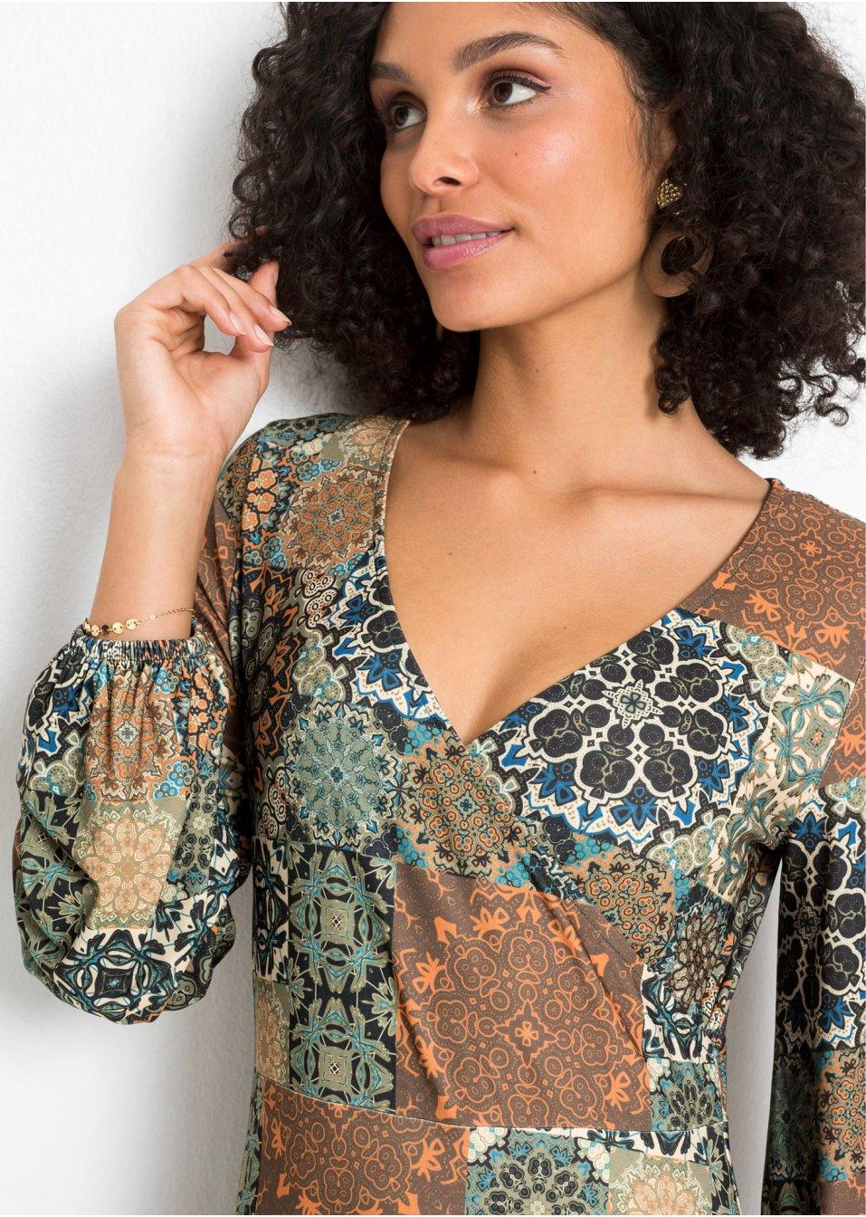 Mode Femme Vêtements DJLfdOFlkj Robe élégante à imprimé captivant olive/orange paisley