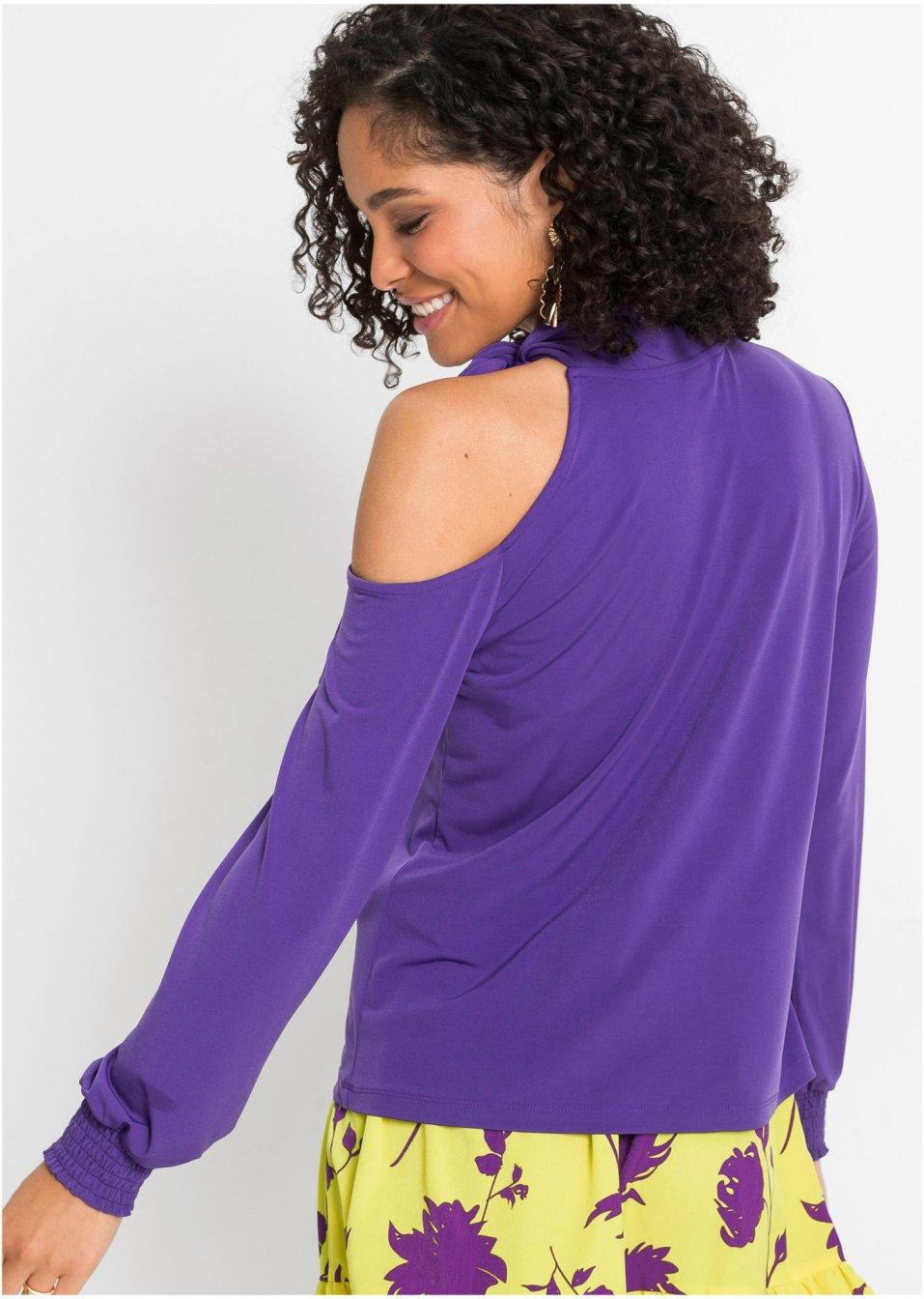Mode Femme Vêtements DJLfdOFlkj Joli T-shirt à épaule dénudée avec lavallière violet jacinthe