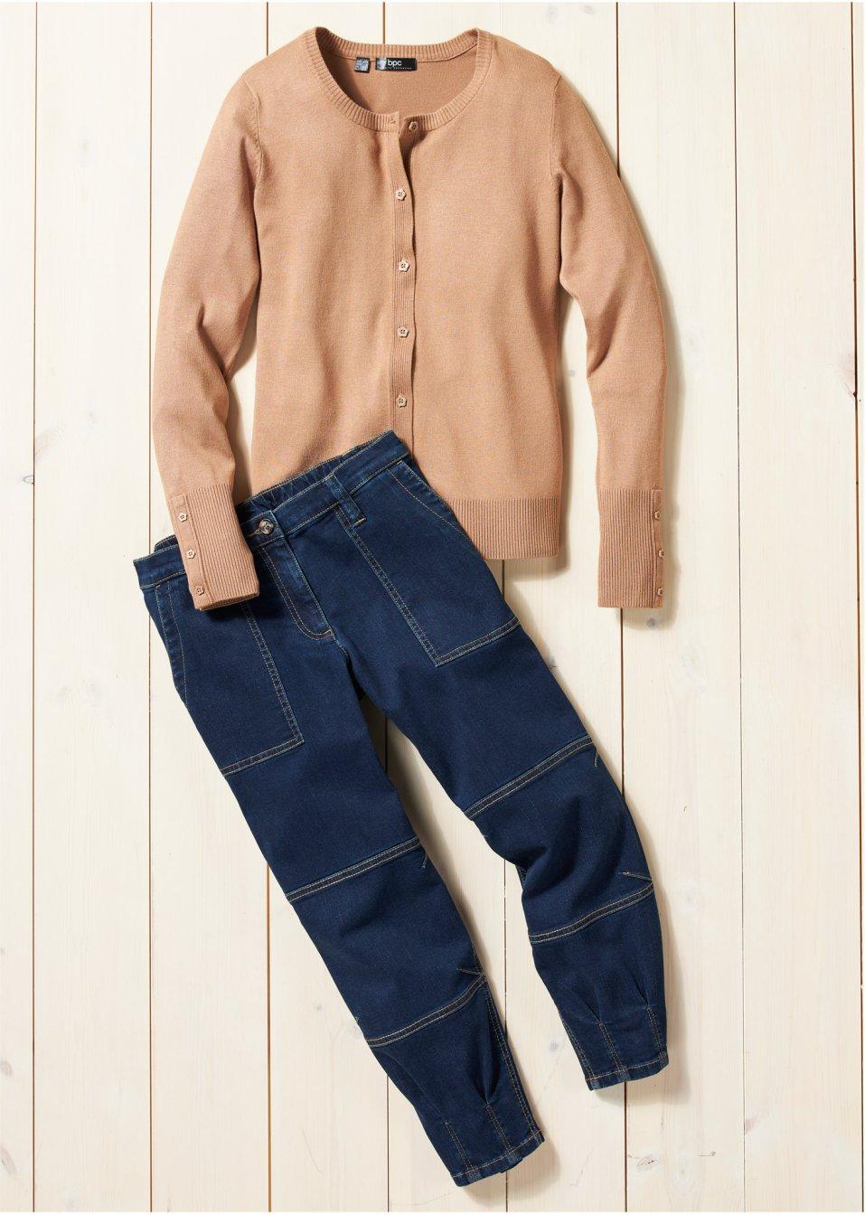 Mode Femme Vêtements DJLfdOFlkj Jean 3/4 mode à empiècement taille confortable avec détails raffinés à la base, relaxed fit dark denim