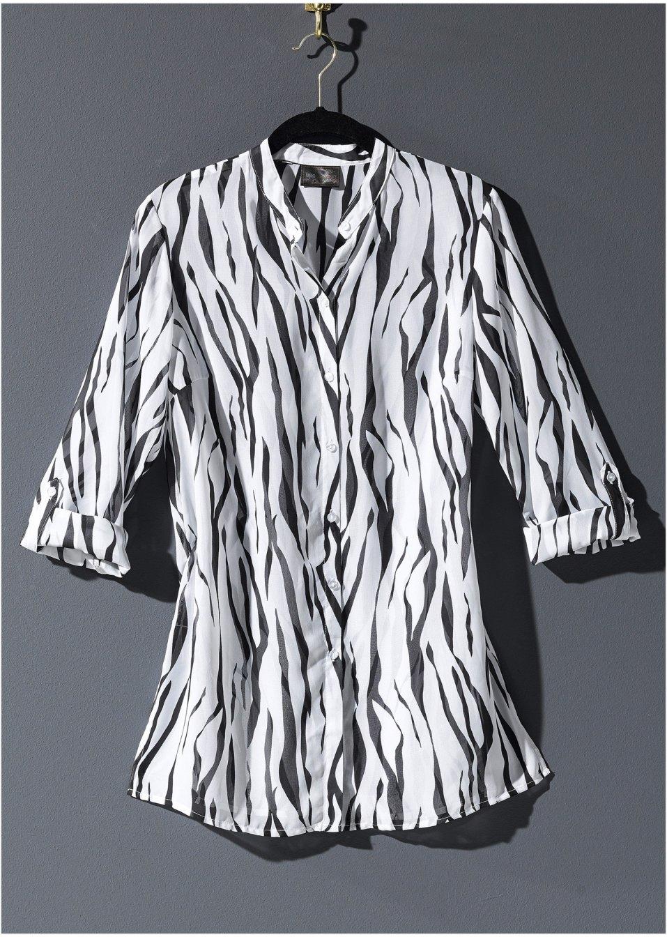 Mode Femme Vêtements DJLfdOFlkj Chemisier long en voile blanc/noir imprimé bpc selection commande online .fr