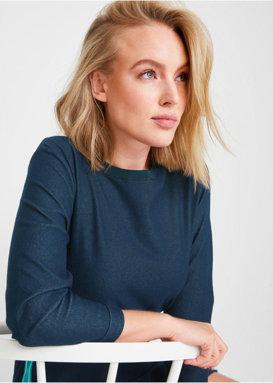 Mode Femme Vêtements DJLfdOFlkj Robe sweat imitation jean, manches 3/4 bleu Femme John Baner JEANSWEAR .fr