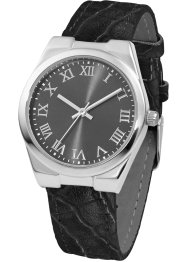 Montre à bracelet imitation croco, bpc bonprix collection, noir/argenté