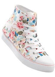Sneakers high, bpc bonprix collection, blanc à fleurs