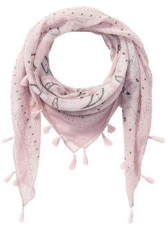 Foulard carré à pompons, bpc bonprix collection, rose