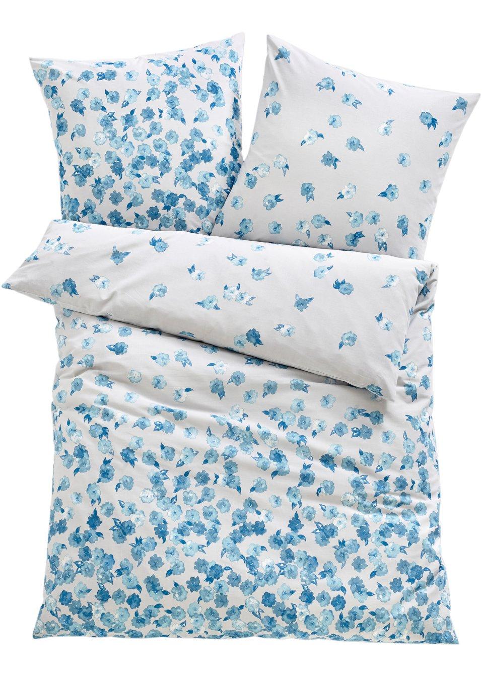 parure de lit pluie de fleurs linon bleu maison. Black Bedroom Furniture Sets. Home Design Ideas