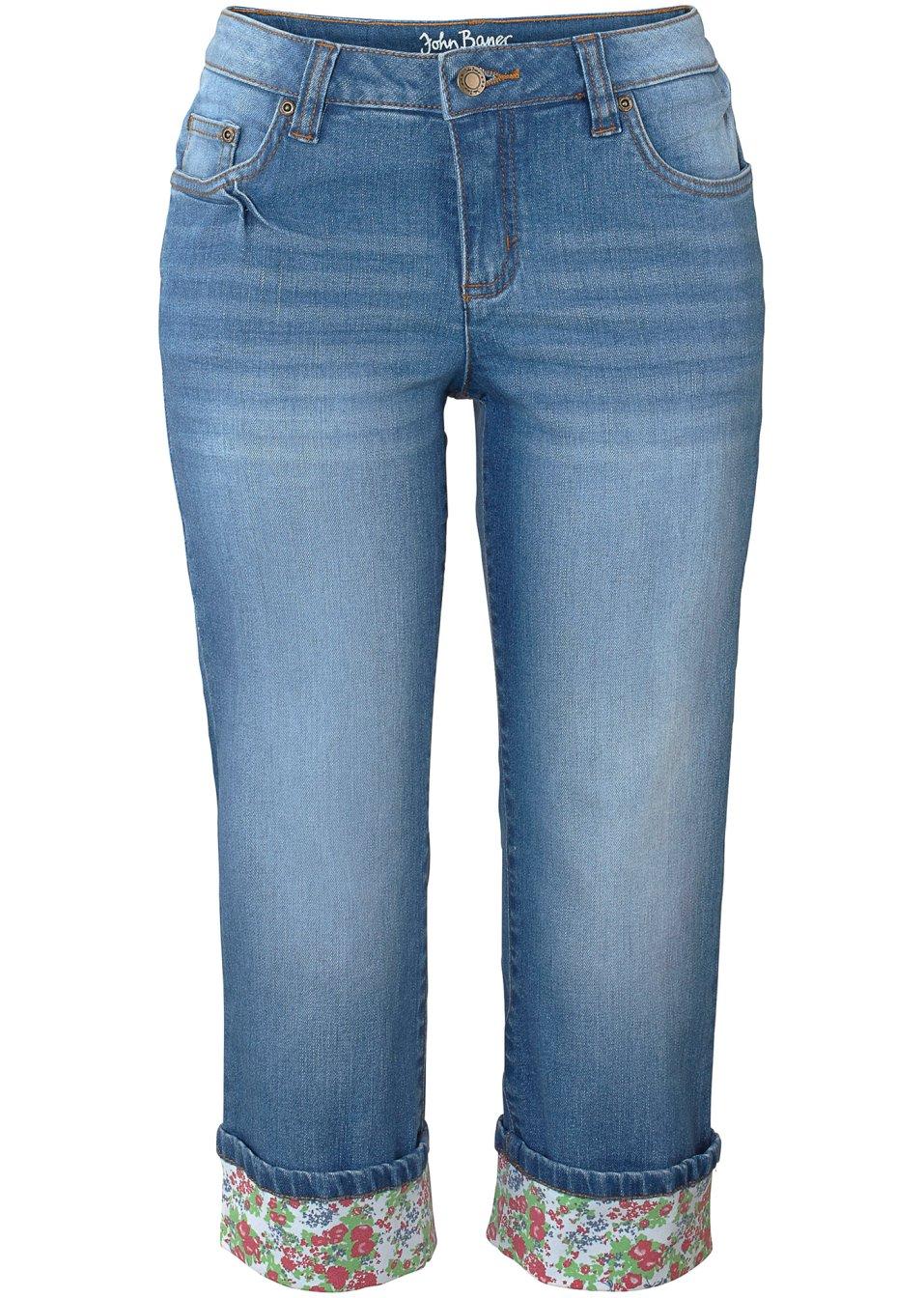 corsaire en jean authentique avec revers color bleu moyen femme. Black Bedroom Furniture Sets. Home Design Ideas
