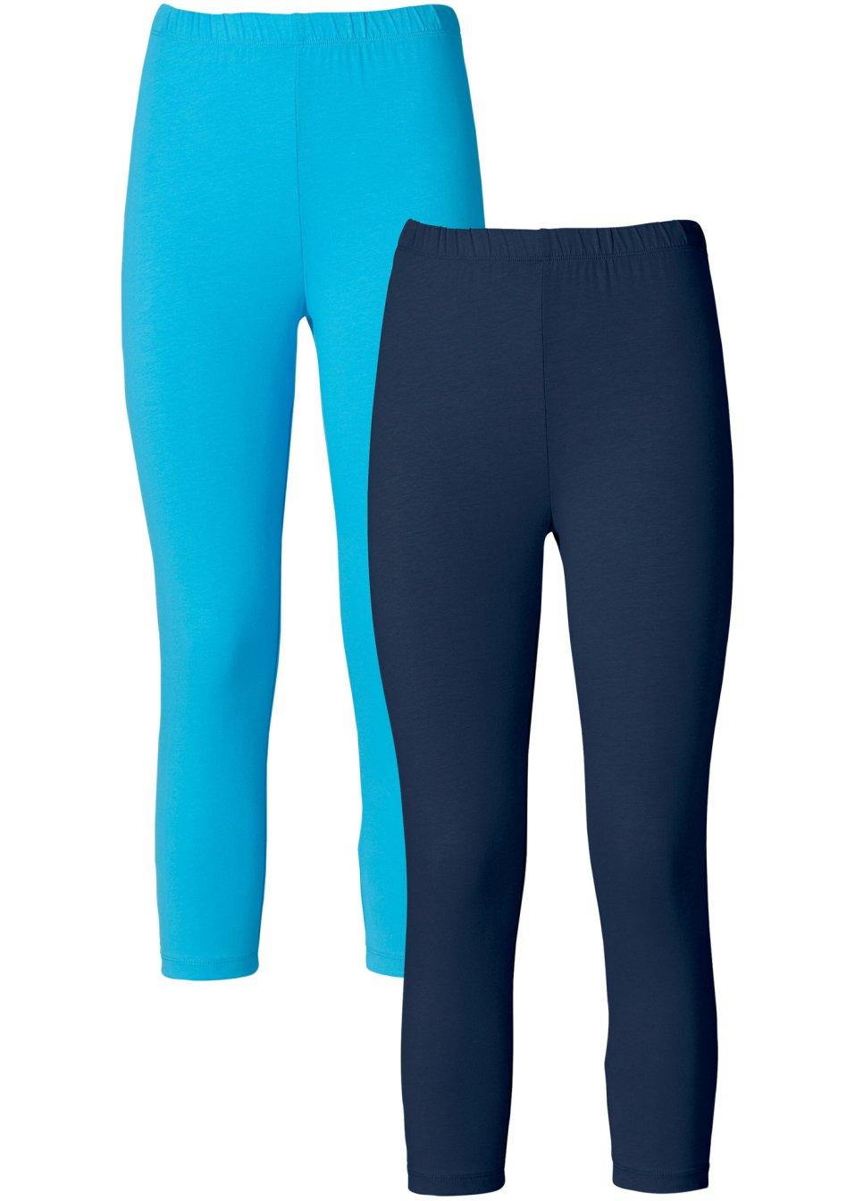 Deux leggings corsaires avec taille haute extensible for Bleu turquoise fonce