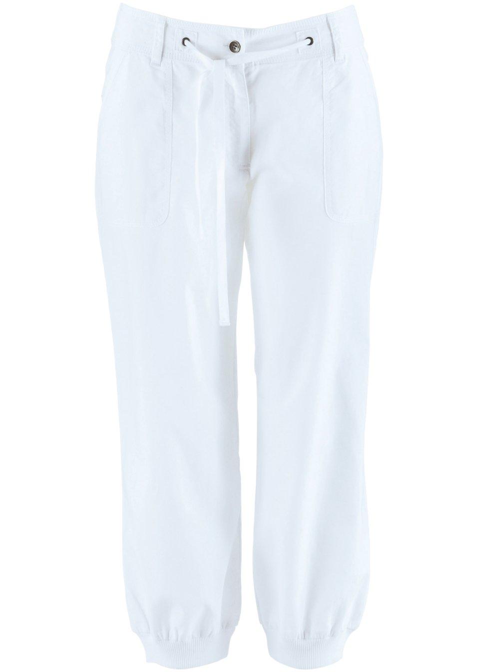 pantalon en lin 3 4 blanc bpc bonprix collection acheter online. Black Bedroom Furniture Sets. Home Design Ideas