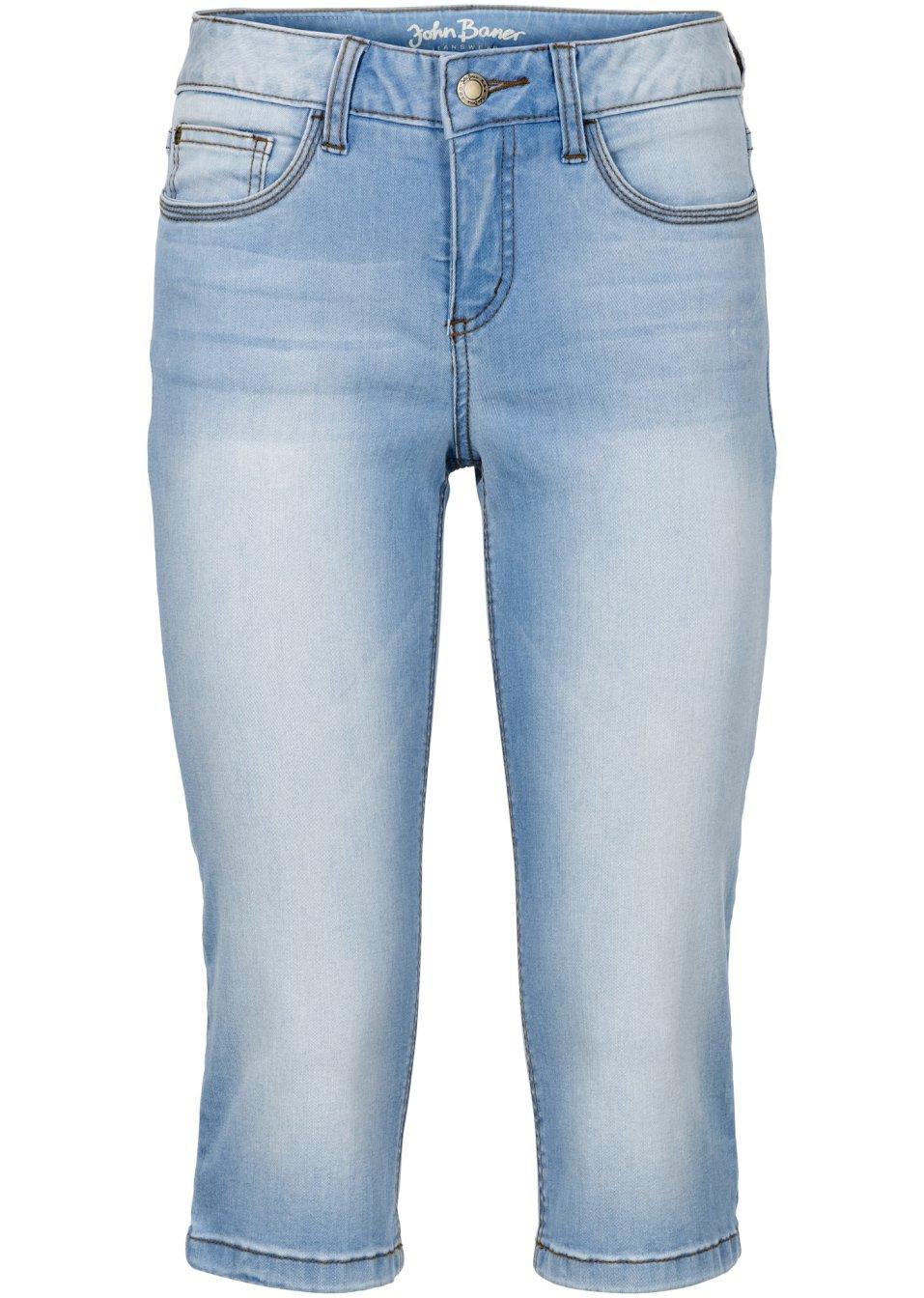 jean corsaire extensible silhouette de r ve bleu clair femme john baner jeanswear. Black Bedroom Furniture Sets. Home Design Ideas