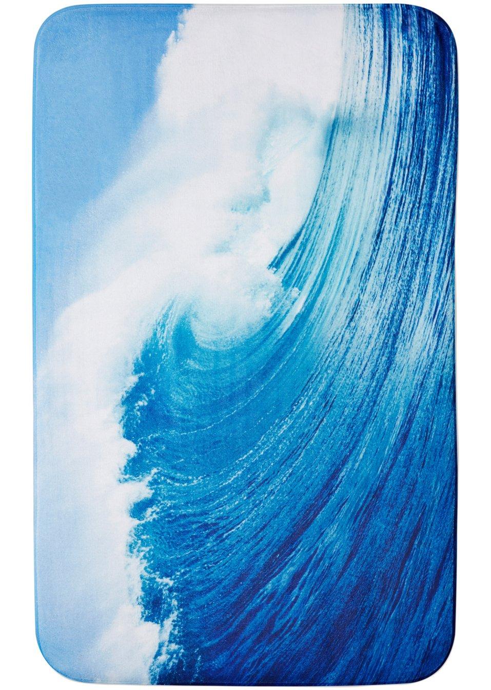 Tapis de bain vague mousse m moire de forme bleu Tapis de bain mousse memoire