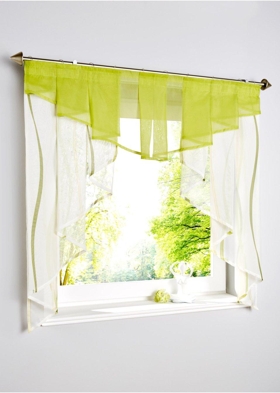 petit voilage de fen tre vienna cr me vert maison bpc living. Black Bedroom Furniture Sets. Home Design Ideas