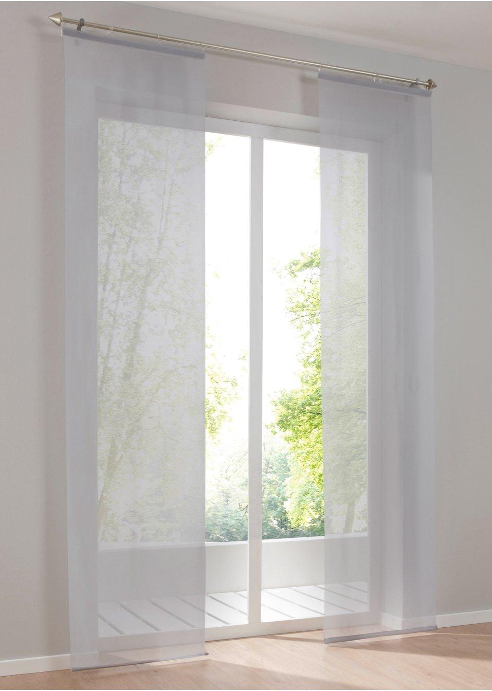 panneau coulissant voile uni 1 pce argent maison bpc living. Black Bedroom Furniture Sets. Home Design Ideas