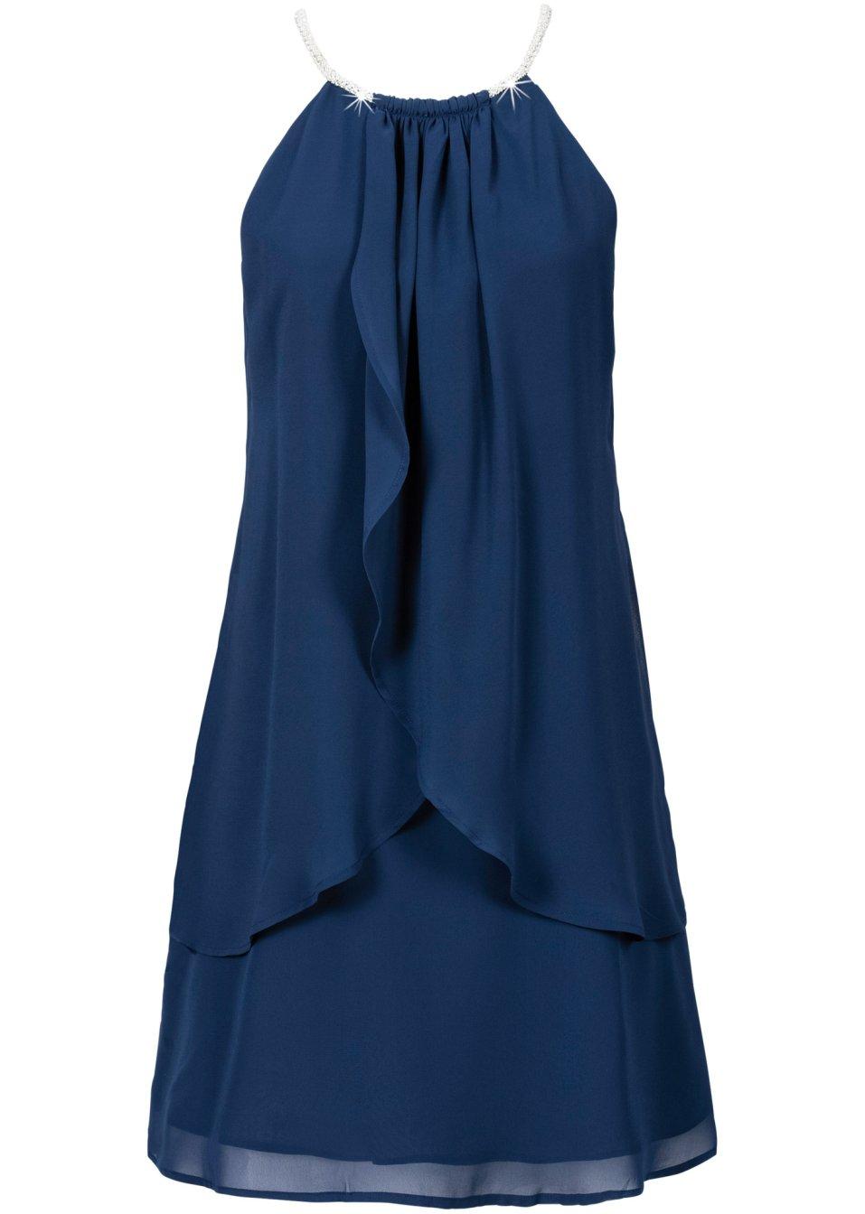 robe en voile de chiffon avec collier bleu fonc bodyflirt acheter online. Black Bedroom Furniture Sets. Home Design Ideas
