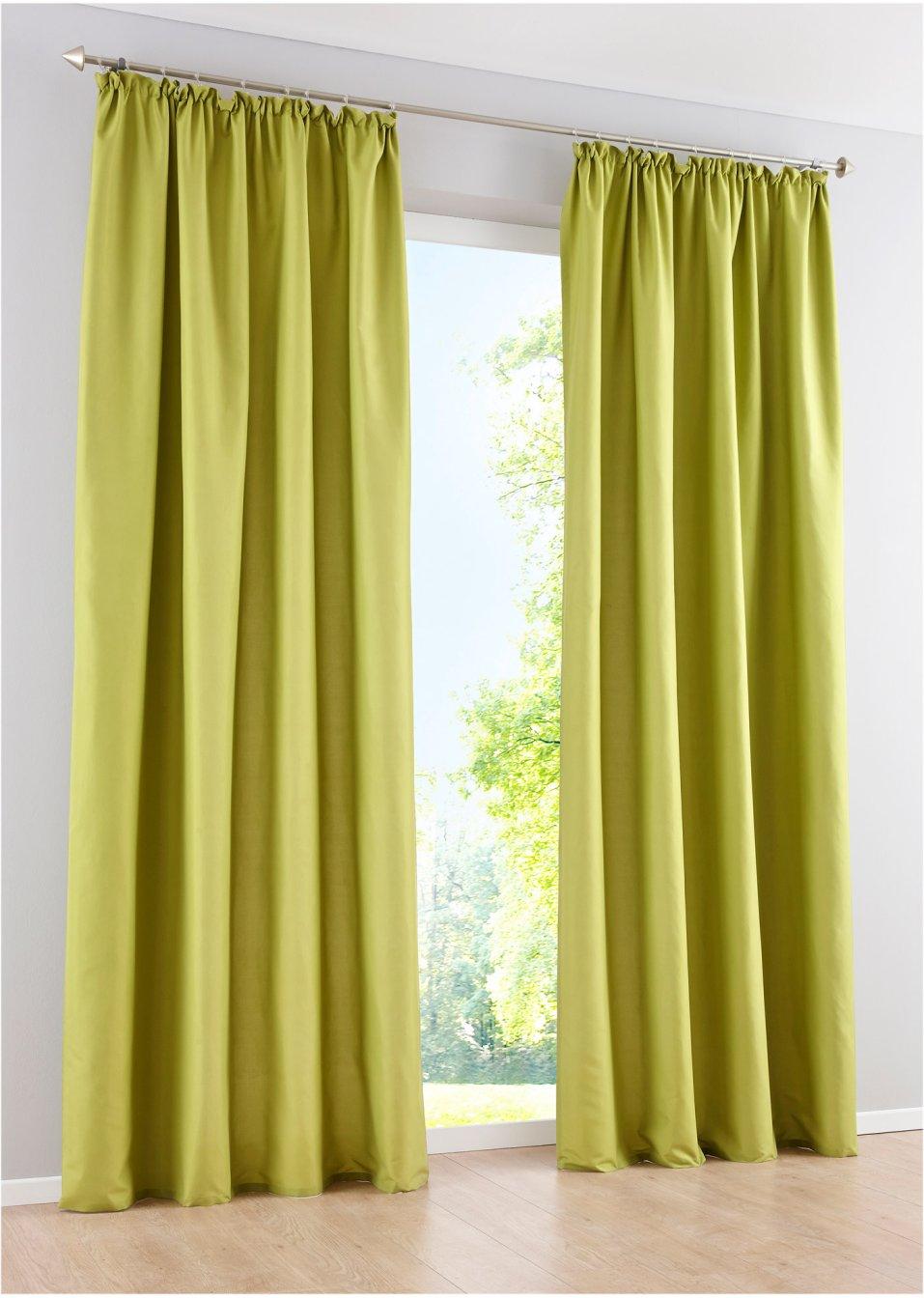 Lot de 2 panneaux uni microfibre vert bpc living acheter - Bonprix vorhang ...