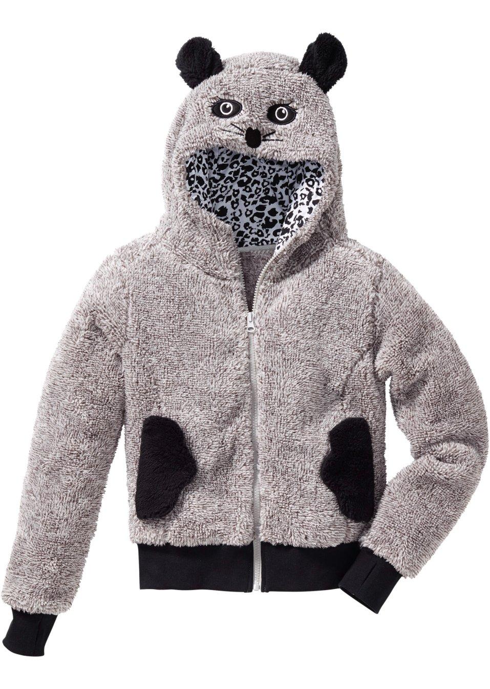 gilet en synth tique imitation fourrure polaire motif animal gris clair souris enfant bpc. Black Bedroom Furniture Sets. Home Design Ideas