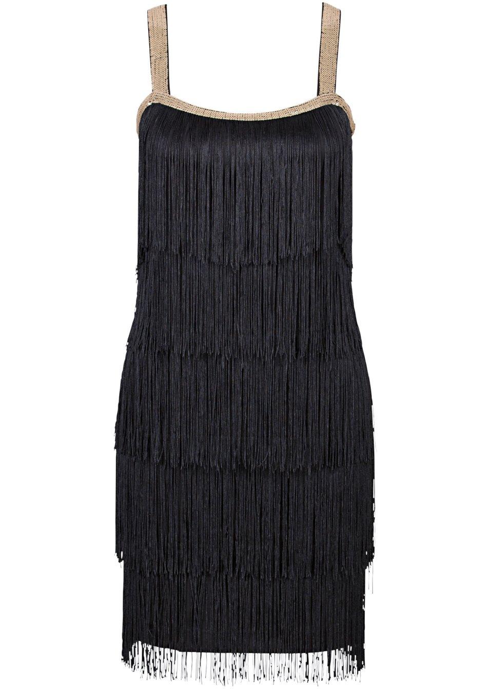 robe franges noir. Black Bedroom Furniture Sets. Home Design Ideas