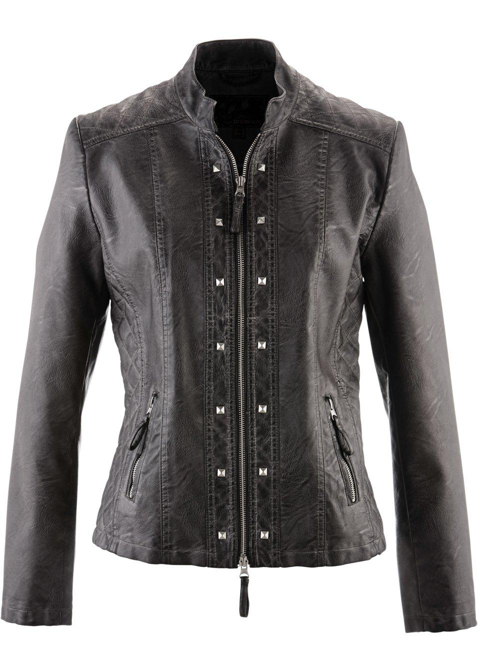 Veste synth tique imitation cuir avec effet matelass et rivets gris ardoise - Ardoise synthetique prix ...