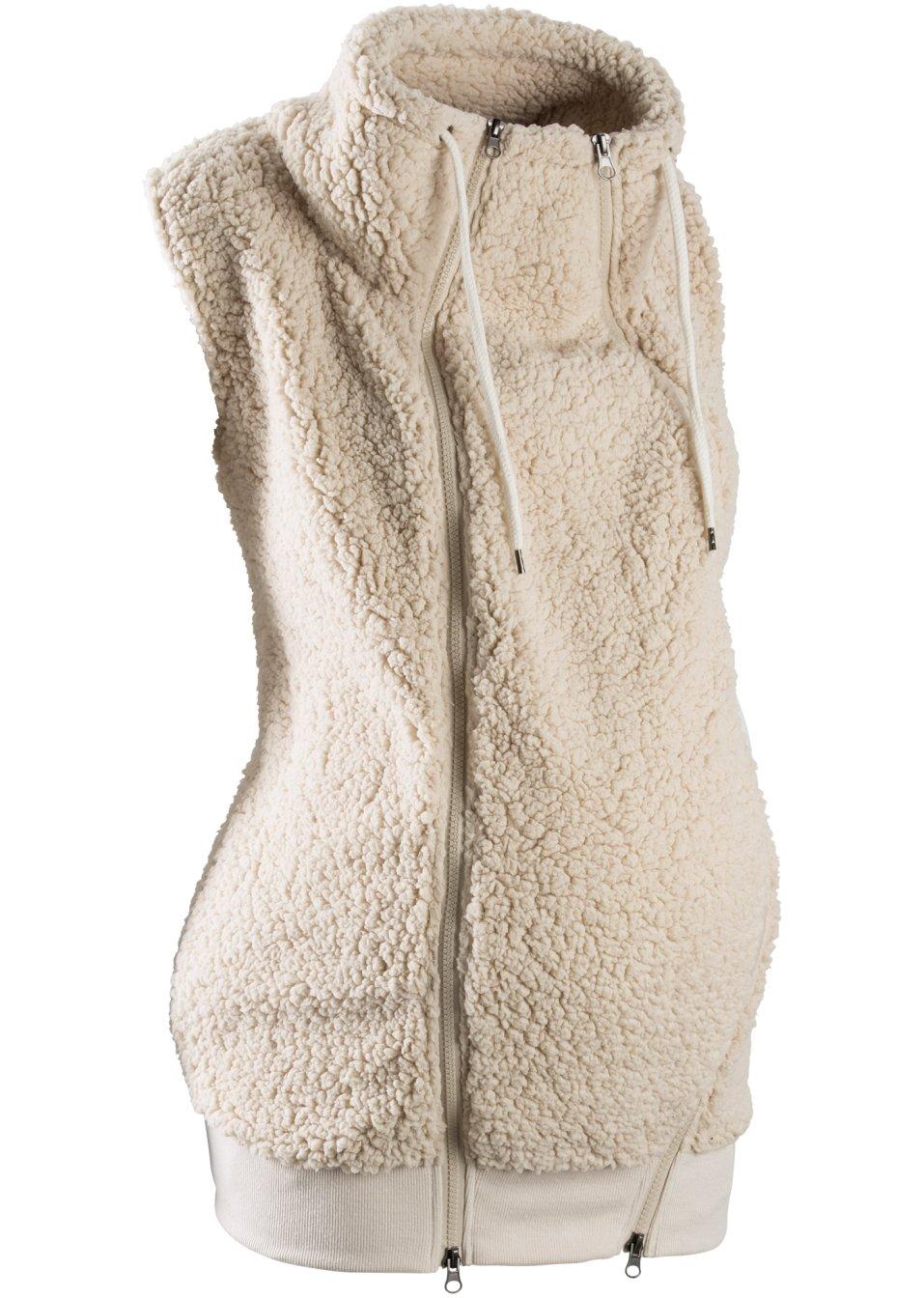 gilet de grossesse sans manches en polaire peluche avec empi cement pour b b beige galet bpc. Black Bedroom Furniture Sets. Home Design Ideas