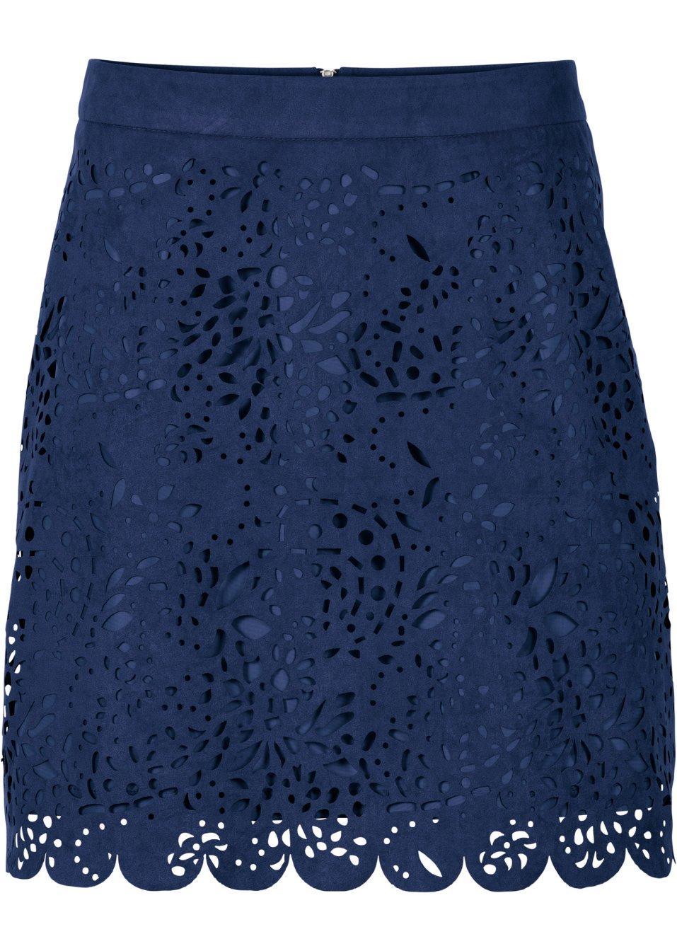 mini jupe en synth tique imitation cuir velours bleu fonc bodyflirt. Black Bedroom Furniture Sets. Home Design Ideas