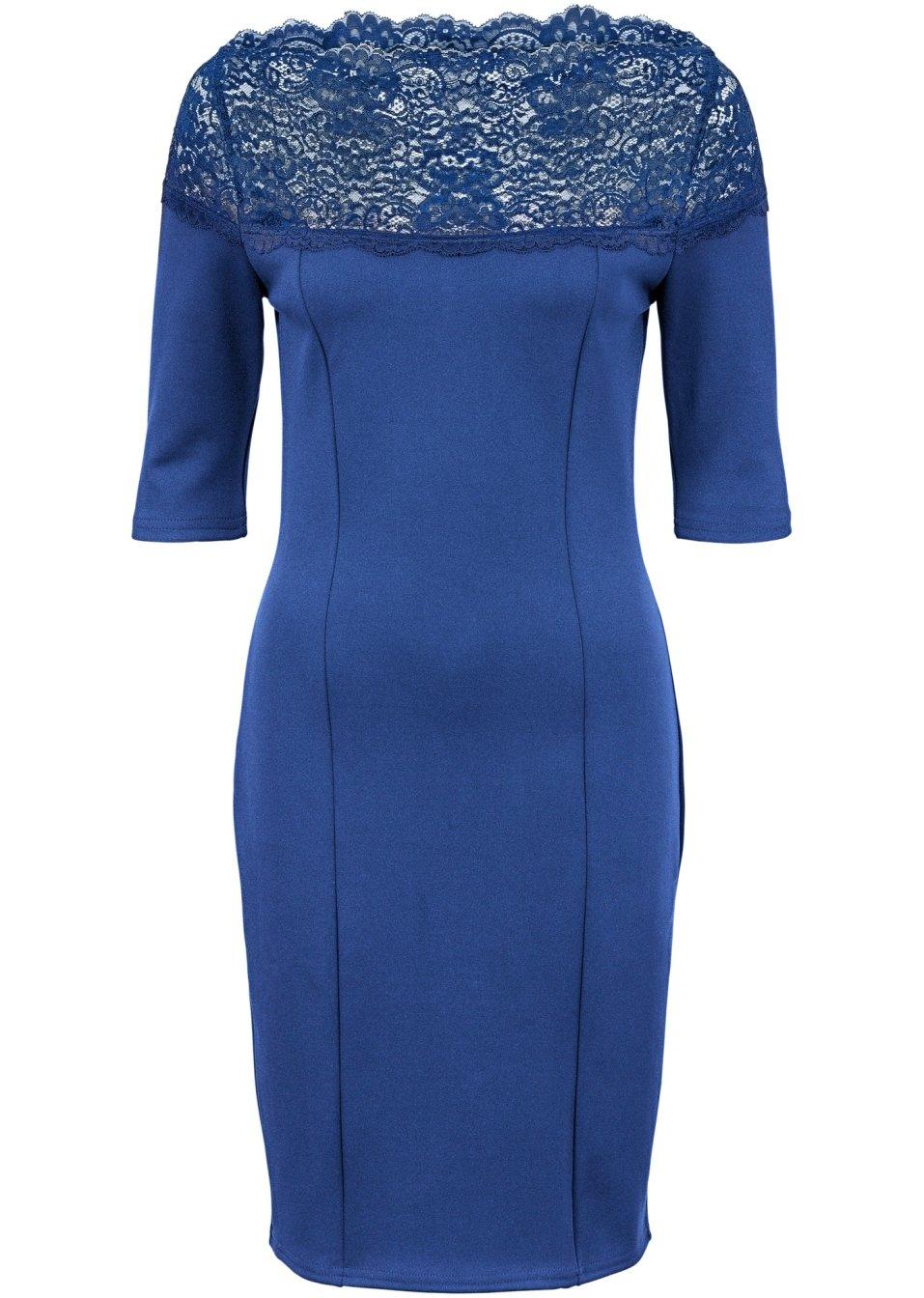 robe en jersey avec dentelle bleu saphir femme. Black Bedroom Furniture Sets. Home Design Ideas