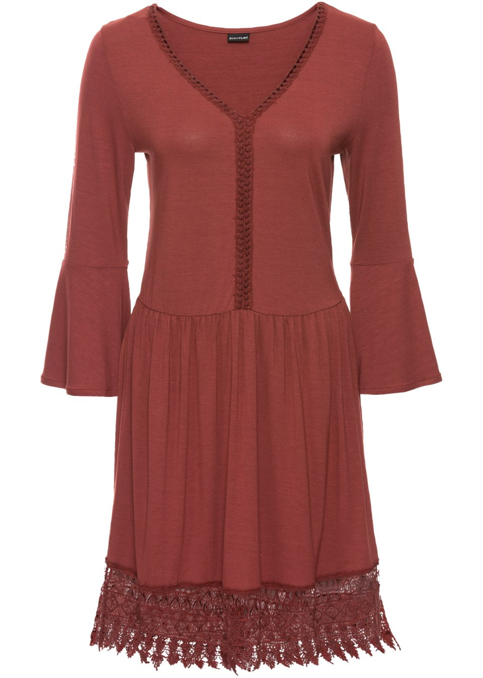robe boho avec application marron marsala bodyflirt. Black Bedroom Furniture Sets. Home Design Ideas