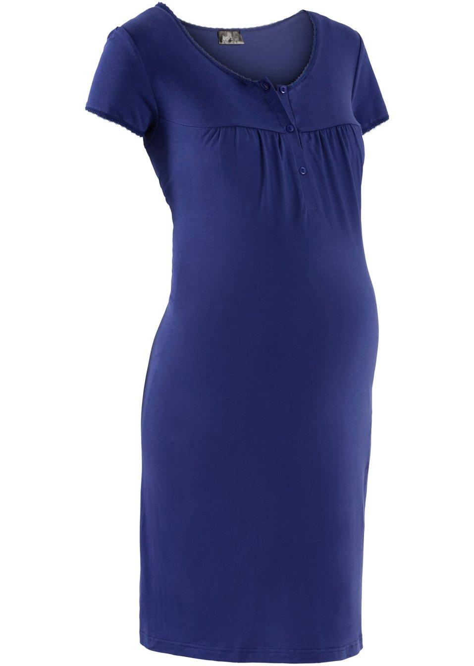 chemise de nuit de grossesse avec encolure ronde et patte de boutonnage bleu nuit. Black Bedroom Furniture Sets. Home Design Ideas