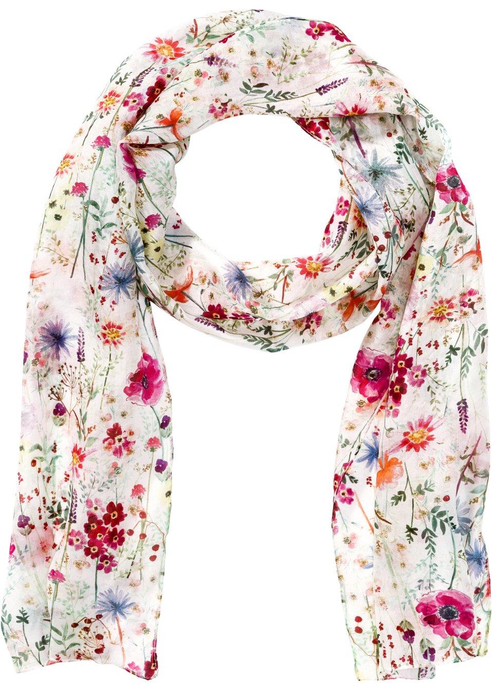 Eacute charpe  eacute troite en soie  agrave  motif floral ... 8a02c43ca54