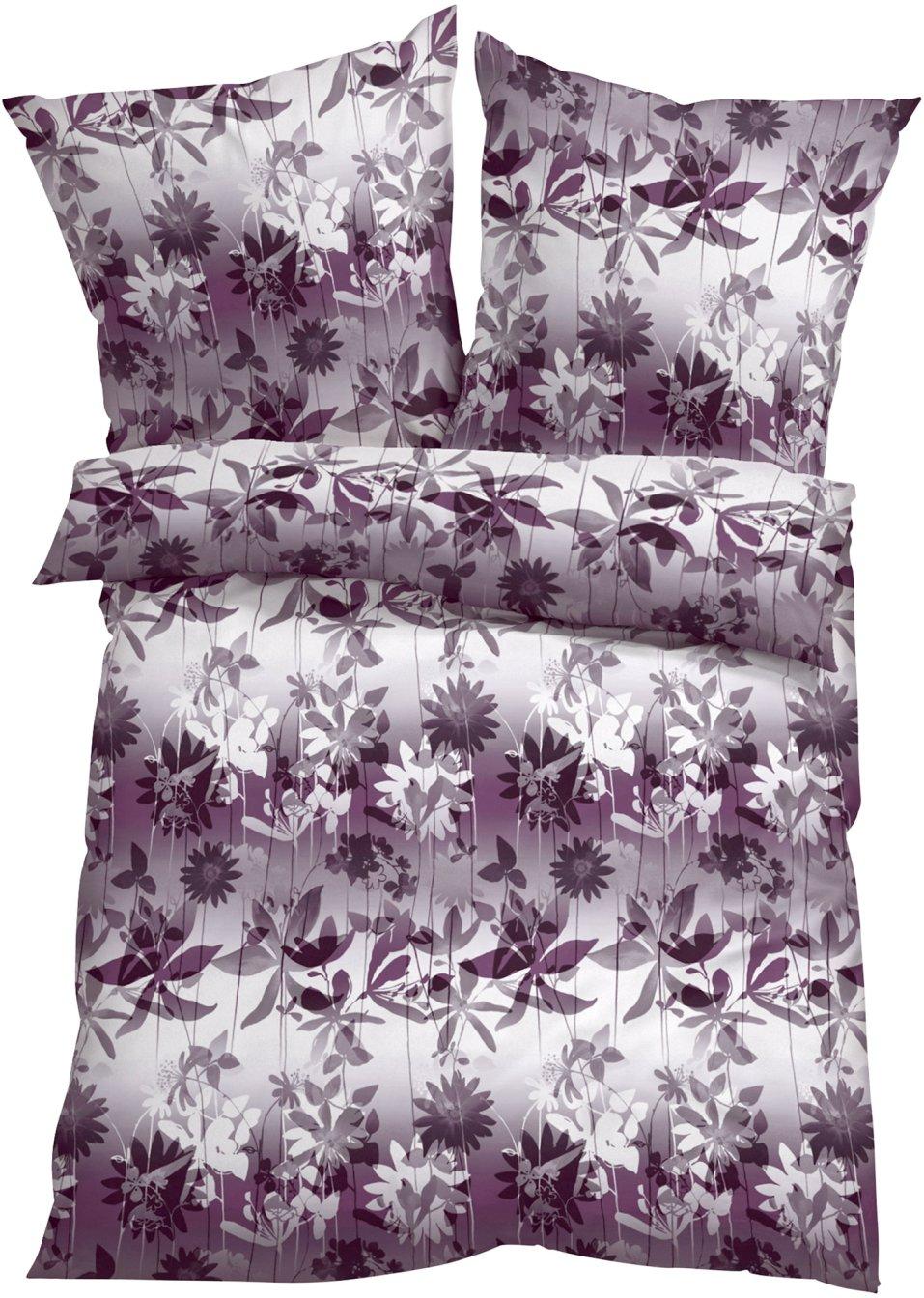 linge de lit flora rose prune bpc living acheter online. Black Bedroom Furniture Sets. Home Design Ideas