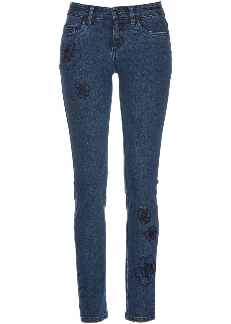 jean avec broderie bleu stone femme bpc selection premium. Black Bedroom Furniture Sets. Home Design Ideas