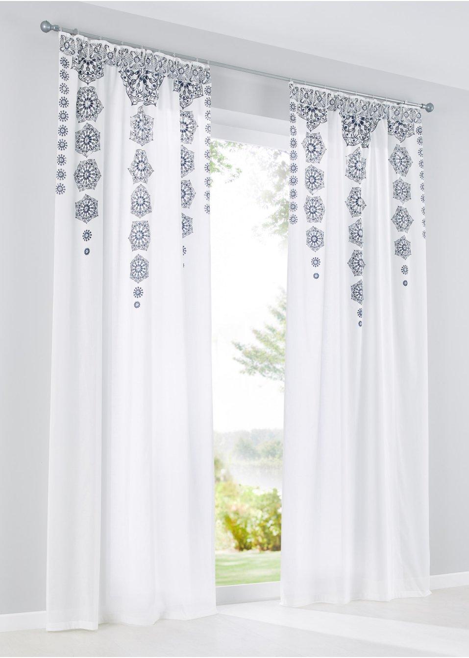 voilage mandala 1 pce blanc bleu maison bpc living. Black Bedroom Furniture Sets. Home Design Ideas