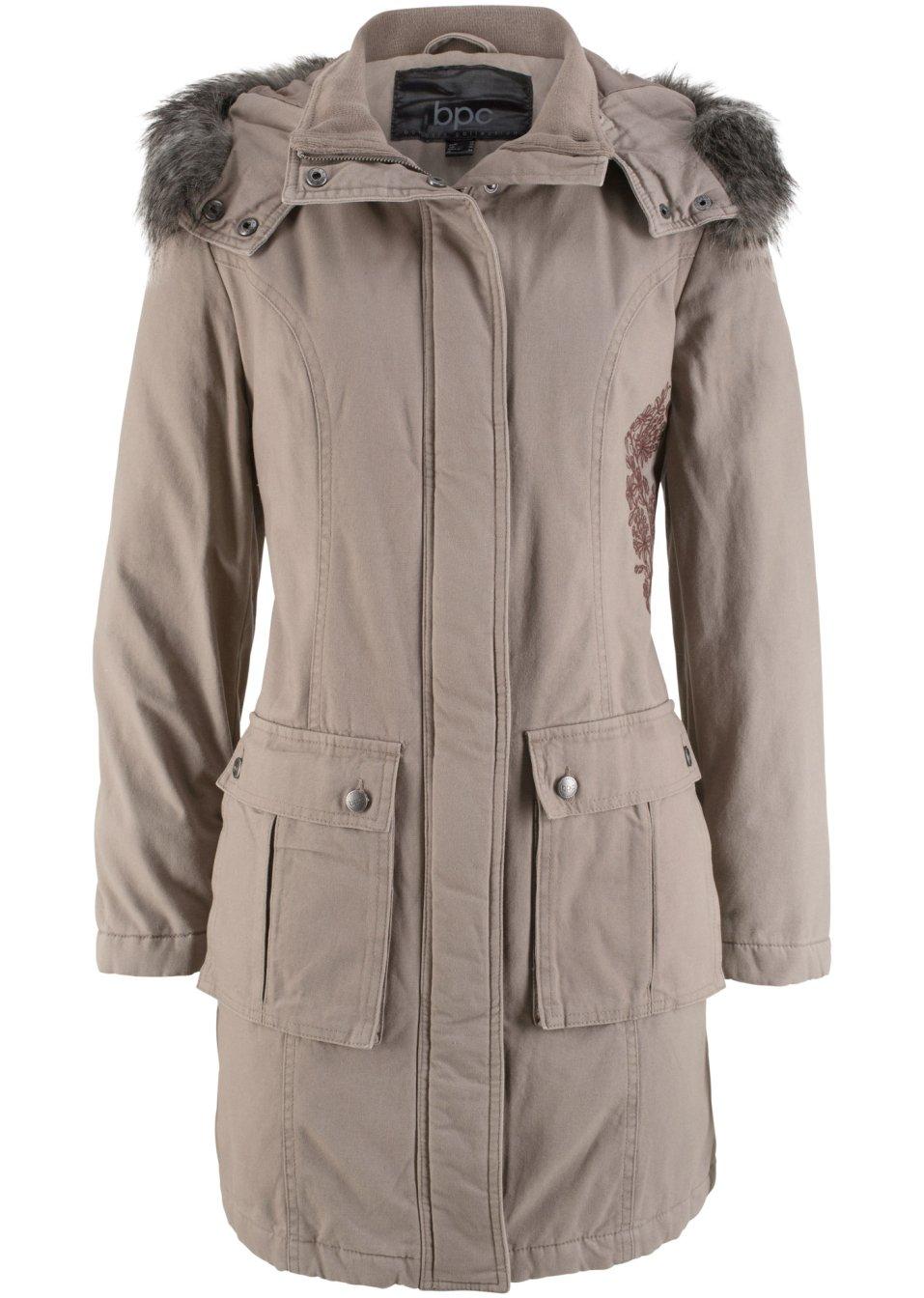 manteau en coton avec broderie taupe bpc bonprix collection. Black Bedroom Furniture Sets. Home Design Ideas