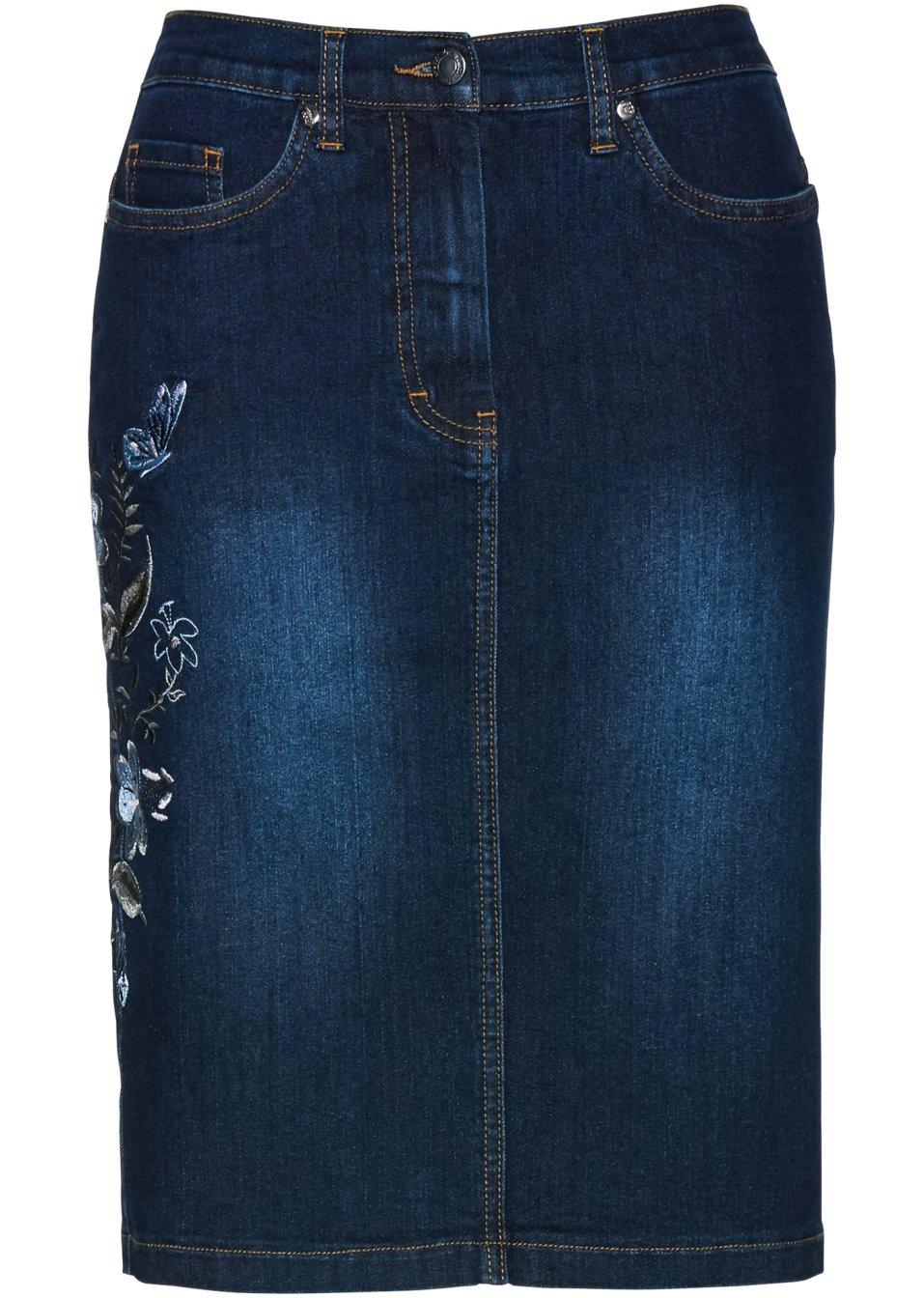 jupe en jean avec broderie dark bleu stone femme. Black Bedroom Furniture Sets. Home Design Ideas