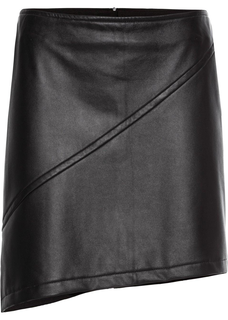 jupe en synth tique imitation cuir noir femme rainbow. Black Bedroom Furniture Sets. Home Design Ideas